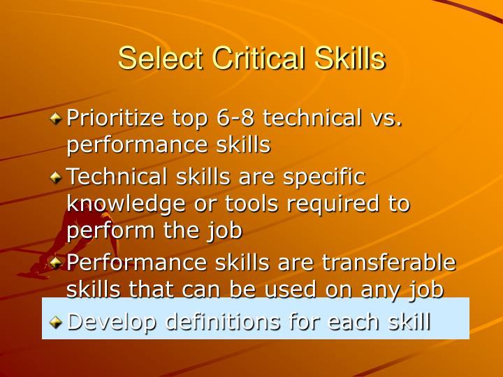 Select Critical Skills