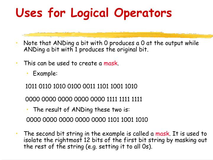 Uses for Logical Operators
