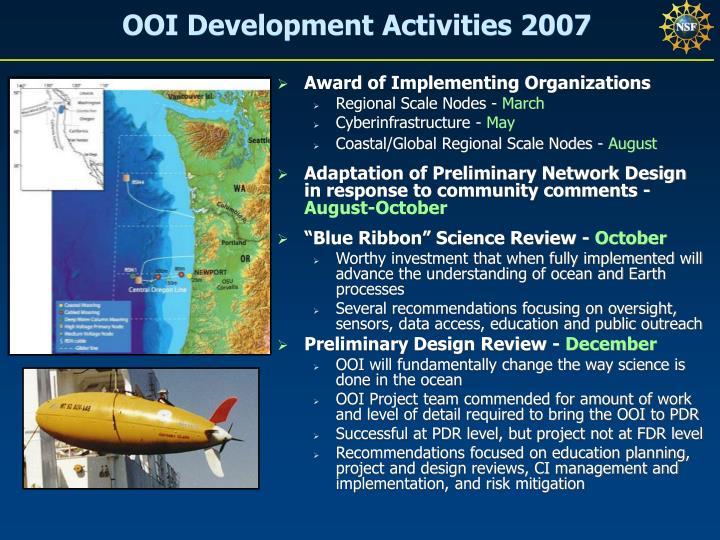 OOI Development Activities 2007