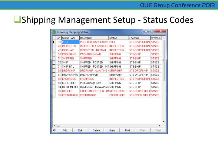Shipping Management Setup - Status Codes