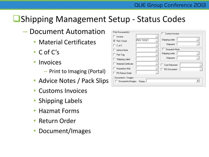 Shipping Management Setup - Status Codes