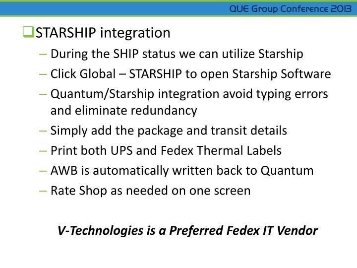 STARSHIP integration