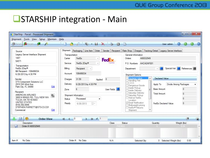 STARSHIP integration - Main