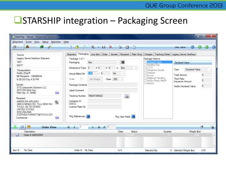 STARSHIP integration – Packaging Screen