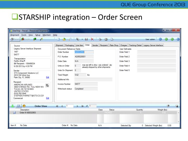 STARSHIP integration – Order Screen