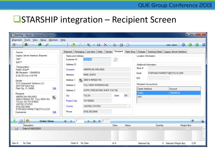 STARSHIP integration – Recipient Screen