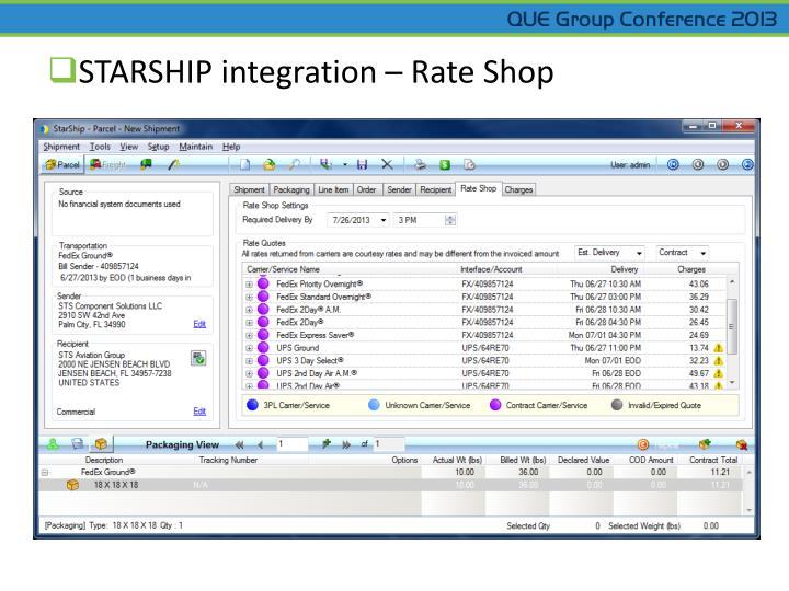 STARSHIP integration – Rate Shop
