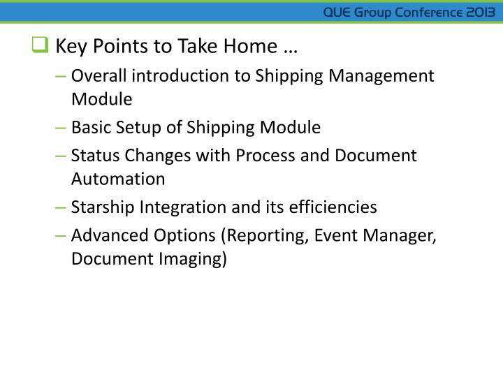 Key Points to Take Home …
