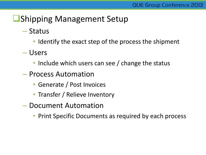 Shipping Management Setup