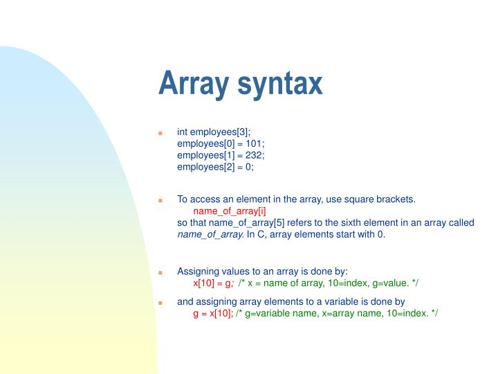 Array syntax