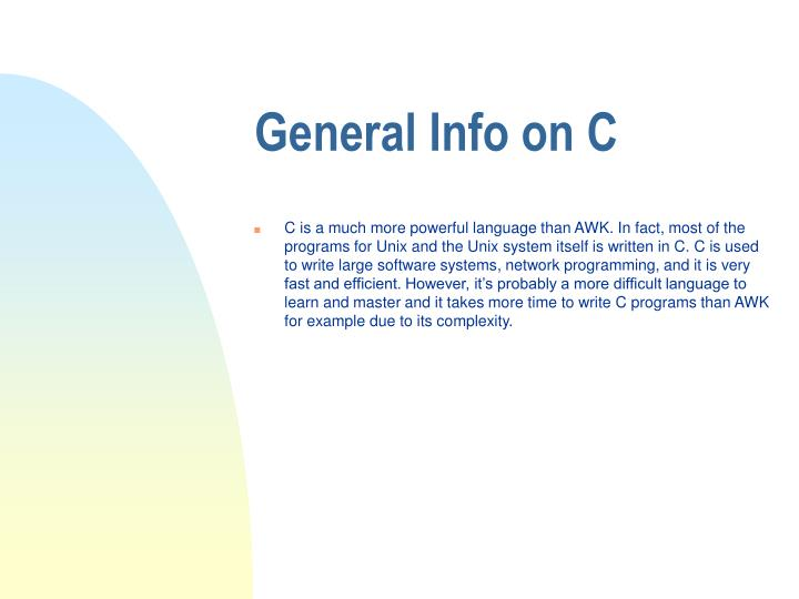 General info on c