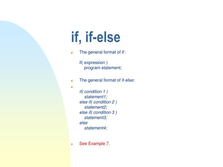 if, if-else