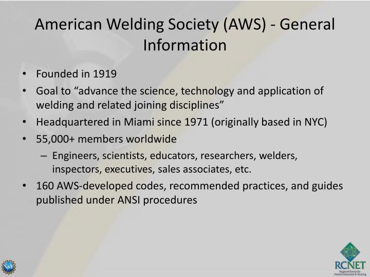 American welding society aws general information