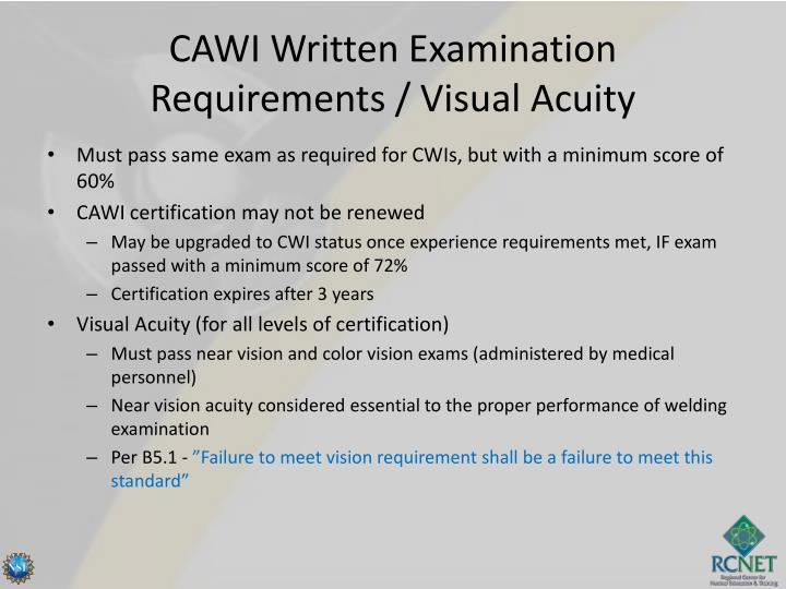 CAWI Written Examination Requirements / Visual Acuity