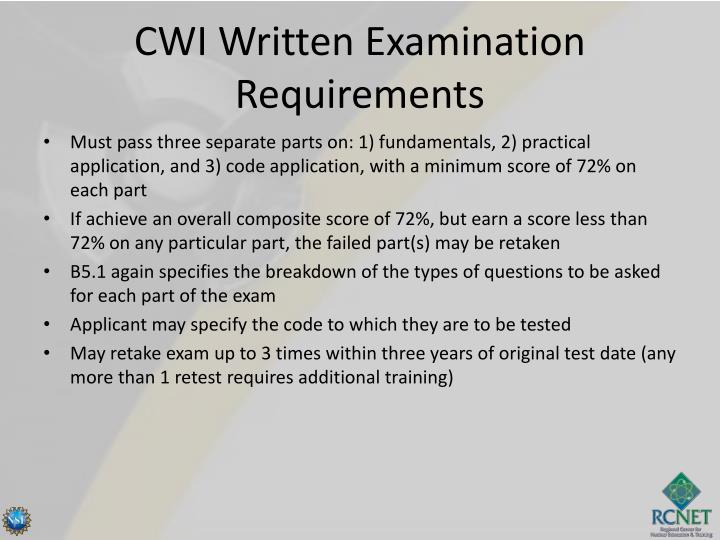CWI Written Examination Requirements