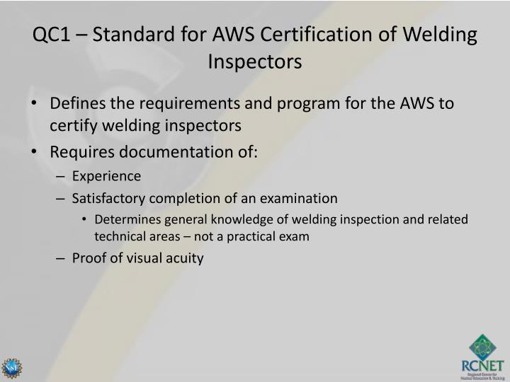 QC1 – Standard for AWS Certification of Welding Inspectors