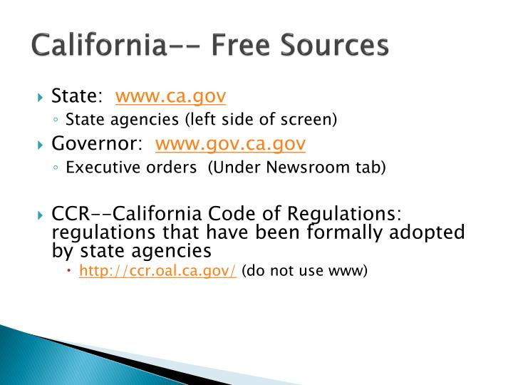 California-- Free Sources