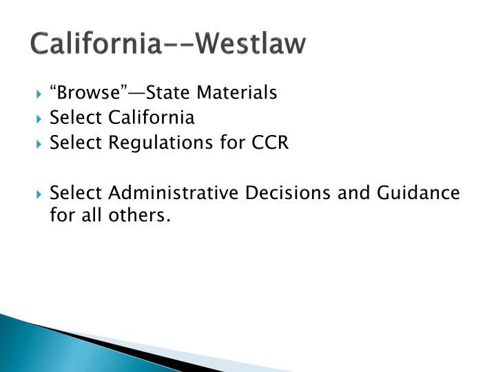 California--Westlaw