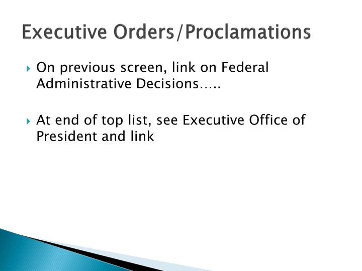 Executive Orders/Proclamations