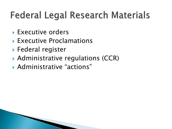 Federal Legal Research Materials