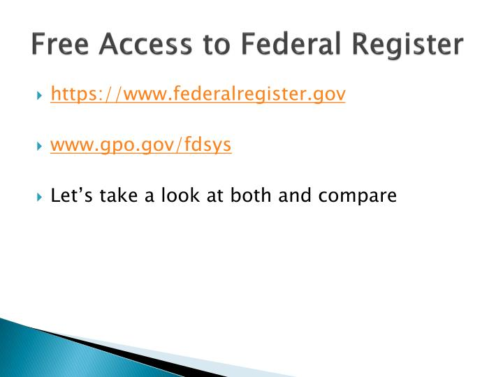 Free Access to Federal Register