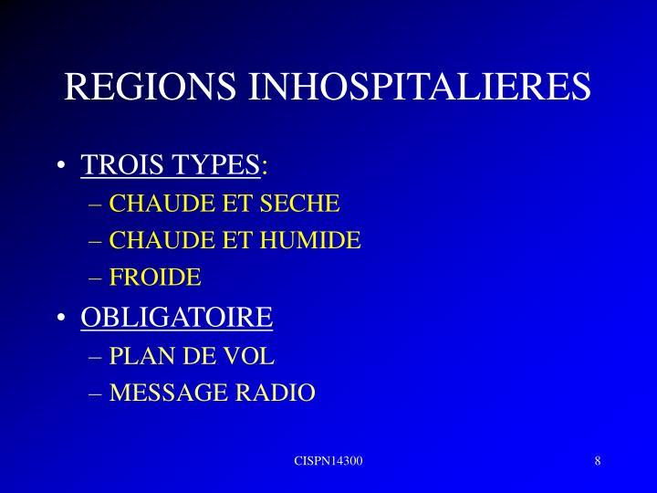 REGIONS INHOSPITALIERES