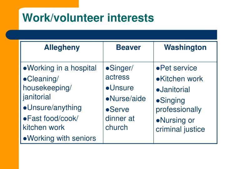 Work/volunteer interests