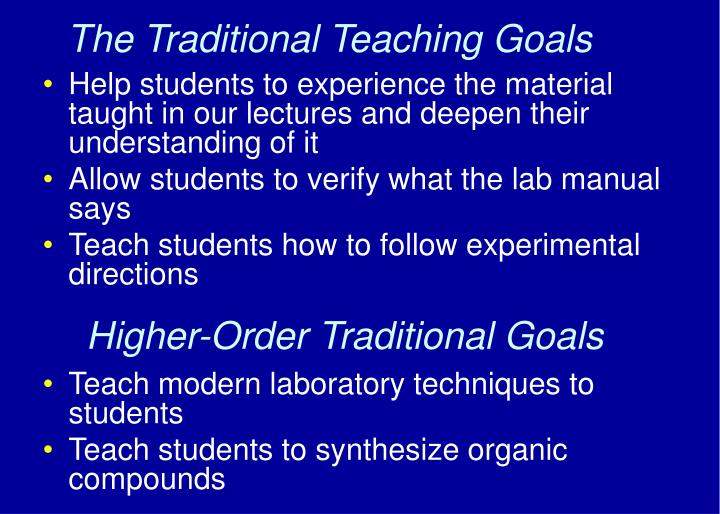 The Traditional Teaching Goals