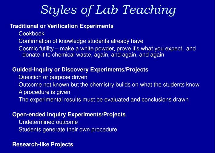 Styles of Lab Teaching