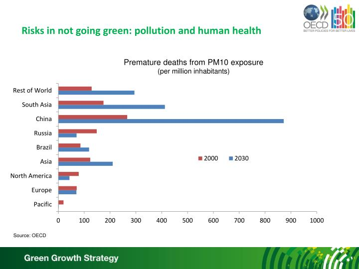 Risks in not going green: pollution and human health