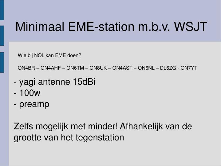 Minimaal EME-station m.b.v. WSJT