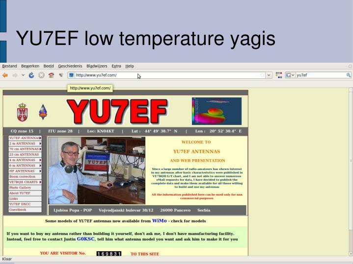 YU7EF low temperature yagis