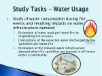 study tasks water usage