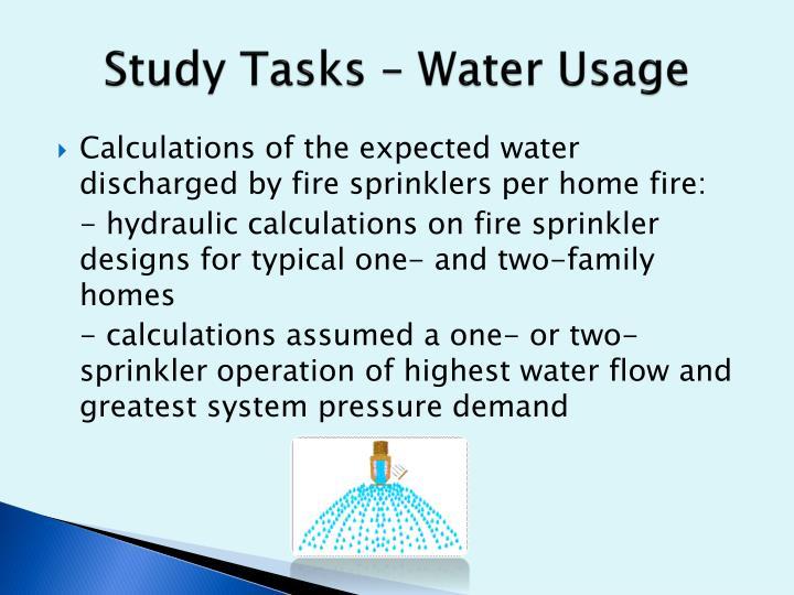 Study Tasks – Water Usage