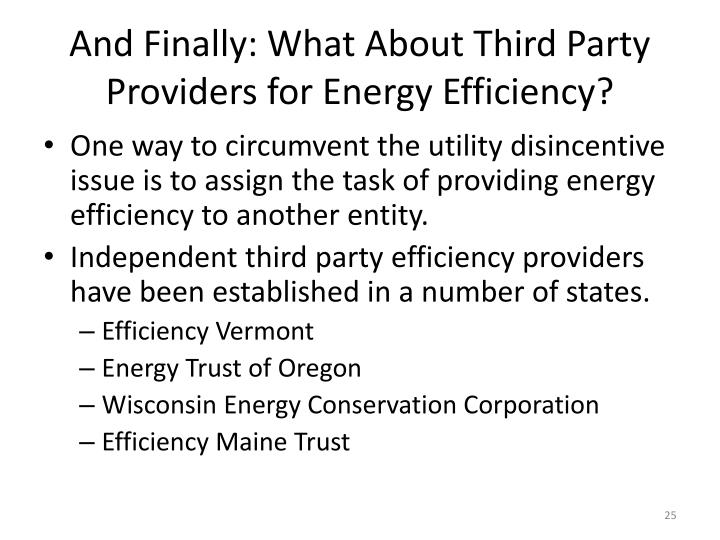 And Finally: What About Third Party Providers for Energy Efficiency?