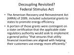 decoupling revisited federal stimulus act