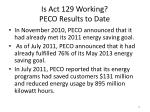 is act 129 working peco results to date