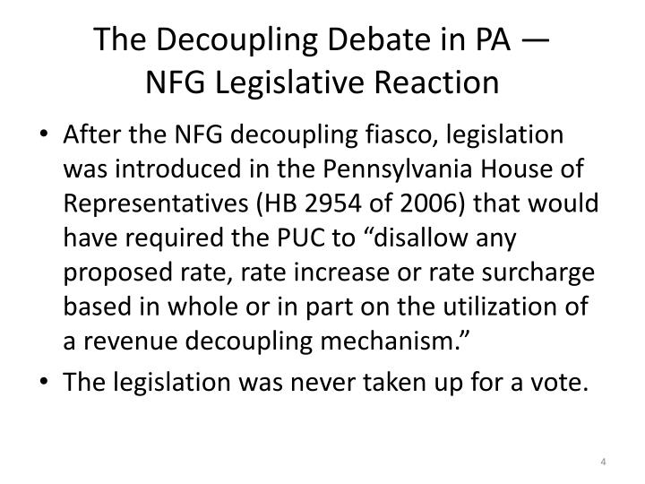 The Decoupling Debate in PA —