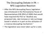 the decoupling debate in pa nfg legislative reaction