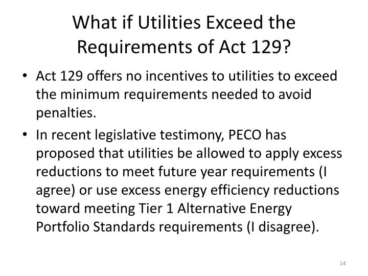 What if Utilities Exceed the Requirements of Act 129?