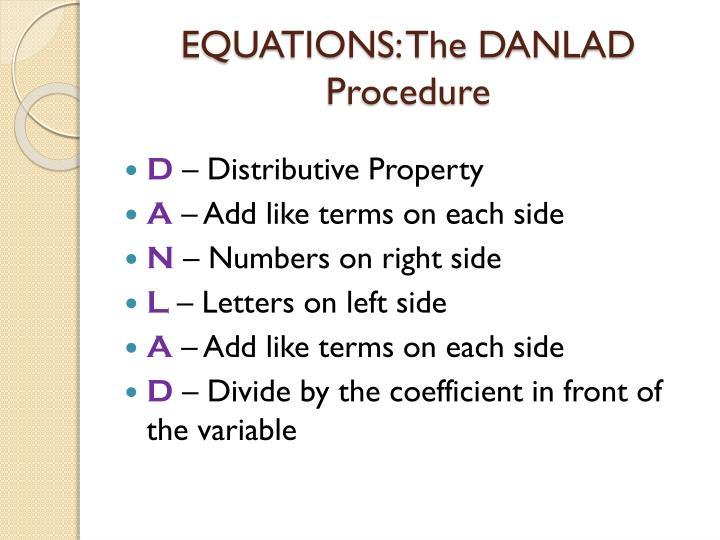 EQUATIONS: The DANLAD Procedure