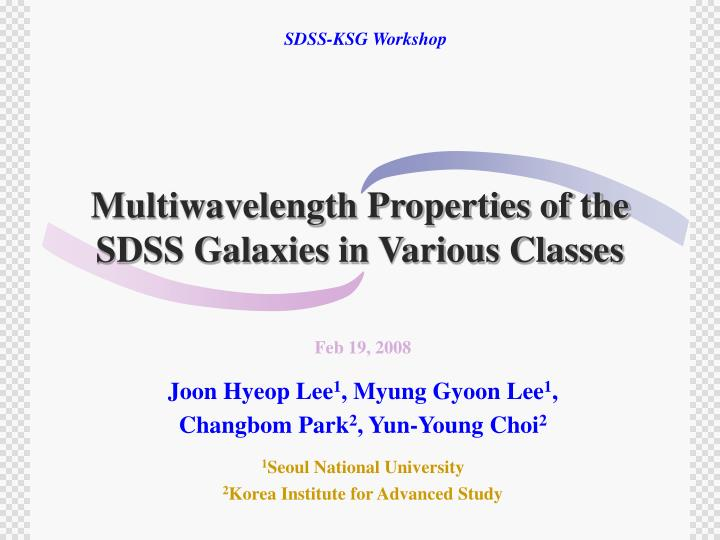 Multiwavelength properties of the sdss galaxies in various classes