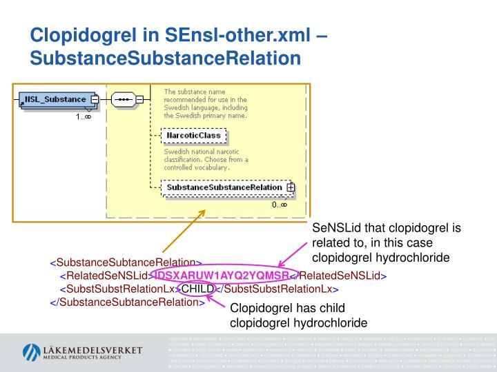 Clopidogrel in SEnsl-other.xml – SubstanceSubstanceRelation