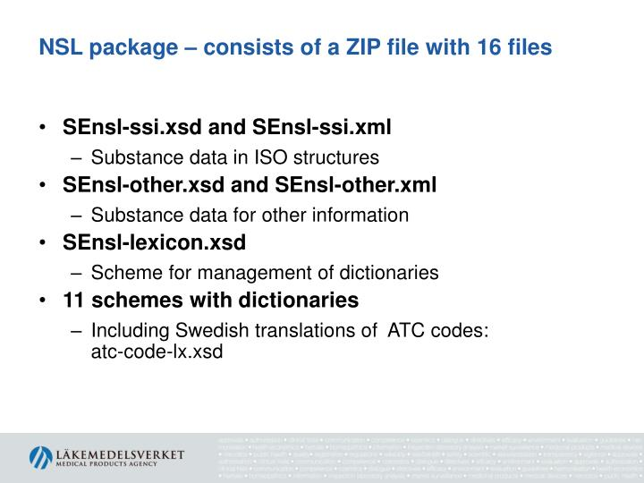 NSL package – consists of a ZIP file with 16 files