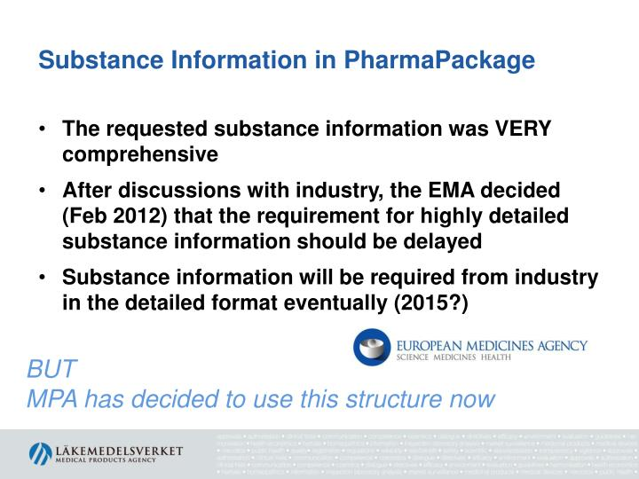 Substance Information in PharmaPackage