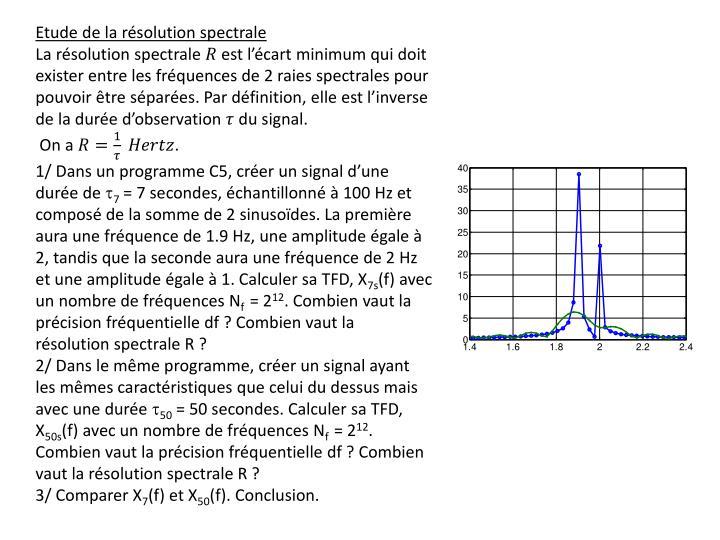 Etude de la résolution spectrale