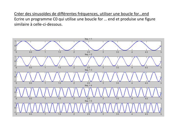 Créer des sinusoïdes de différentes fréquences, utiliser une boucle for…end