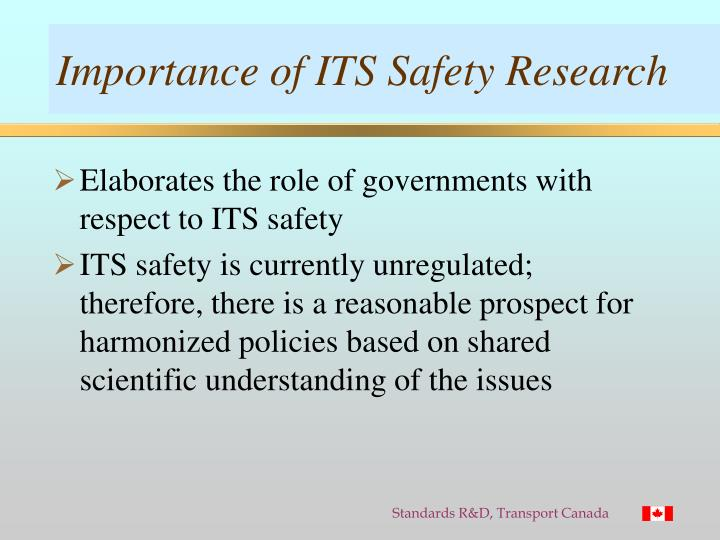 Importance of ITS Safety Research