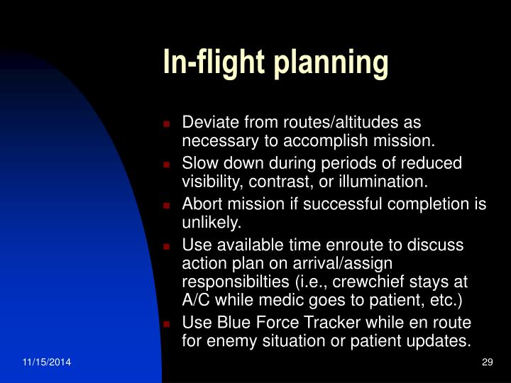 In-flight planning