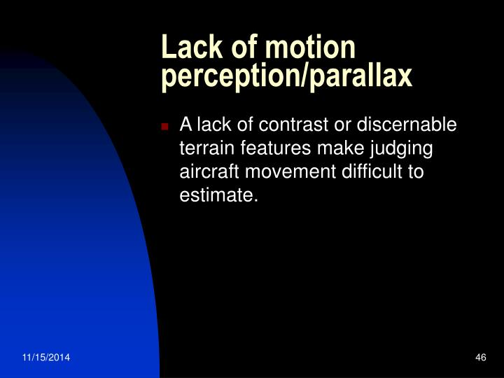 Lack of motion perception/parallax